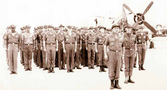 Flight line parade for General Westmoreland's visit a few days after the 1 Nov 1964 mortar attack.
