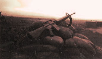 Photo by Paul Huff, Oct 22, 1972:Sandbag post position, between flight line and Baker II area Bomb Dump. We were hit by Rockets and Sappers. These posts were new after the attack. My M-16 was #057.
