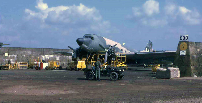 Bien Thuy Air Base flight line C-47 revetment, with Chu Hoi bird. MSgt Summerfield: 16
