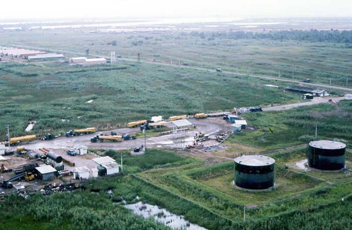 Bien Thuy Air Base, POL tanks and POL canopy pumps that burnt in TET 1968. MSgt Summerfield, 1968: 18