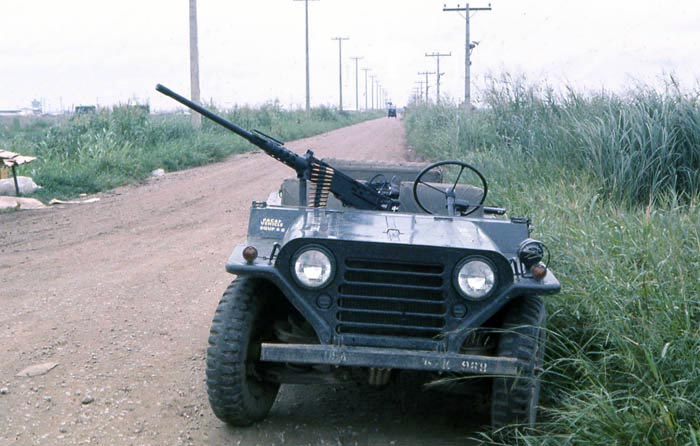 Bien Thuy Air Base, USAF SPS QRT jeep, M151, M79 and 50cal. MSgt Summerfield, 1968: 28