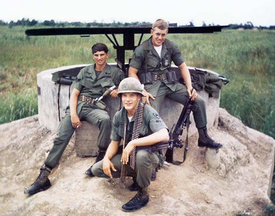 11) Mike Mckeal, Hutch, and Dan Knowles, French Bunker duty with M60 and Mortars, and M16s.