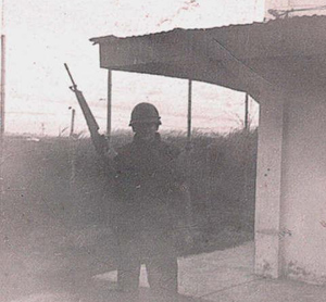18. Me at the Hilton Anex compound going onto tower guard duty 1968.