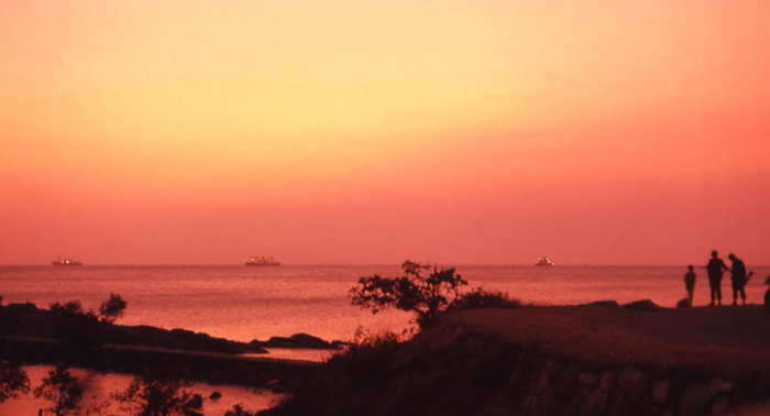 Bien Thuy, sunset at South China Sea. Freighter ships on horizon. MSgt Summerfield: 21