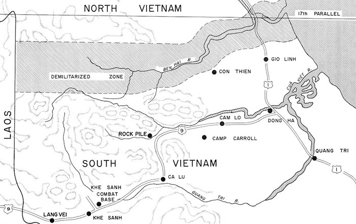 Camp Carroll is located just south of Highway 9, and about 12 miles west of Đông Hà.