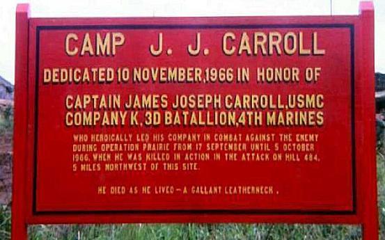 Camp J. J. Carrroll, dedication sign.