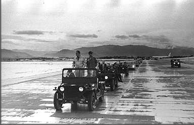 President Lyndon Johnson touring Phu Cat flight line