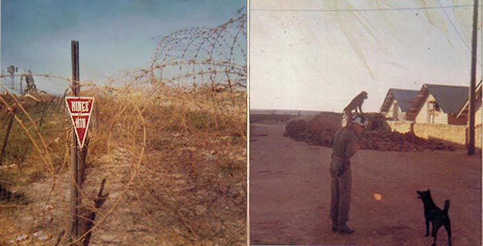 3. Đông Hà Air Base, Perimeter concertina wire rows and mine field. Hooches and sandbag bunker. SP, Monkey, and dog.