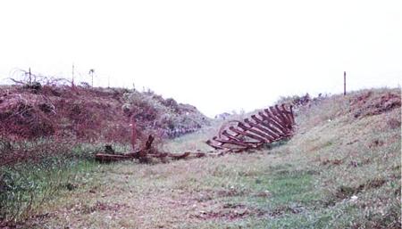 3. Torn up railroad tracks.