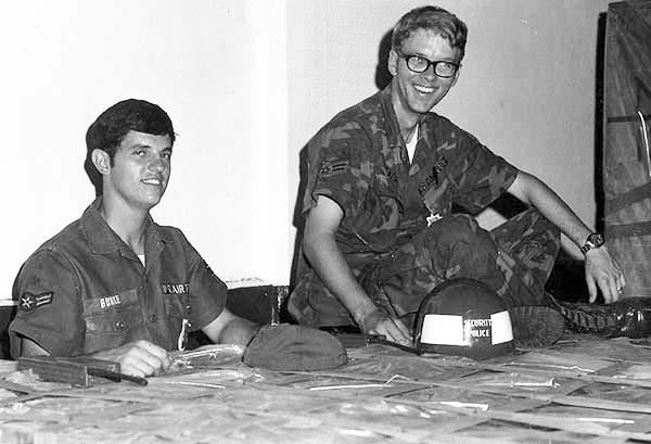 1. Left: Airman Larry Burke. Right: Airman Bobby Ray Leach. Note USAF SP Helmet, center-right.