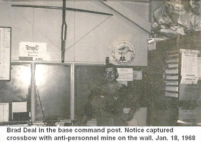 Da Nang Air Base, SVN: USAF, 366th Security Police Squadron CSC, command post. Notice photo with captured crossbow and anti-personnel mine on the wall. Jan. 18, 1968. © 2011 by Bradford K. Deal