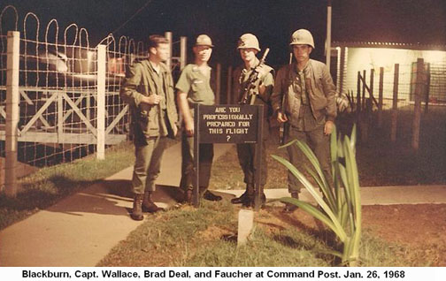 Da Nang Air Base, SVN: USAF 366th SPS, CSC: Blackburn, Capt. Wallace, Brad Deal and Faucher at Command Post, Jan. 26, 1968. Sign posted: Are You Professionally Prepared for this Flight?