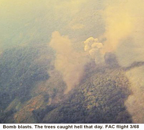 Da Nang Air Base, SVN: USAF FAC flight calls in airstrike from fast-movers. Photo: Bomb blasts jungle. Trees caught hell that day. Mar. 1968