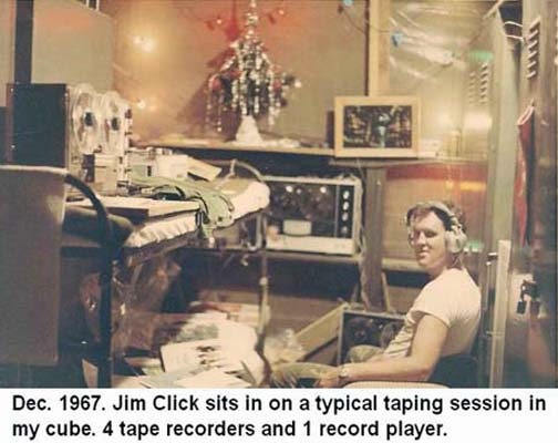 Da Nang Air Base, SVN: USAF Jim Click sits in on a typical taperecording session in hut cube. Dec. 1967.
