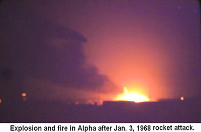 Da Nang Air Base, SVN: USAF. Rocket Attack, explosions and fire in Alpha Area. Jan 3, 1968.