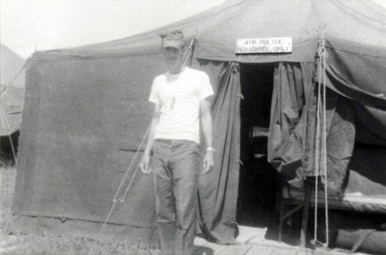 1. Da Nang AB: A2C Maxie Pierce, front of 35th APS tent, 1965.