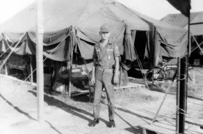 9. Da Nang AB: Airman James Bruce Jones, KIA Jan 1966 approx. 150 yards from his tent at the POL tank post. 35th APS Tent City 1965.