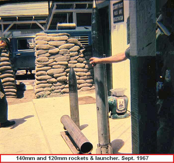 4. Da Nang AB: Captured rockets and launchers. Photo by Greg Dunlap. 1968-1969.