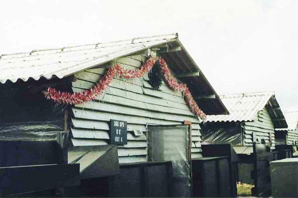 5. Da Nang AB: 366th SPS, K9 Hooch-6, Christmas decorations 1968. Photo by Greg Dunlap. 1968-1969.