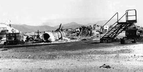 F102 debris, sapper attack/Photo by: Fred Reiling, LTC, USAF (Ret)