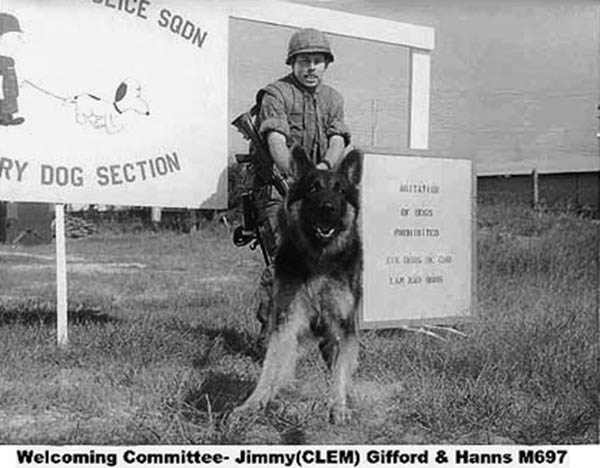 1. Da Nang AB: 366th SPS K-9, Welcoming Committee, Jimmy (CLEM) Gifford and Hanns, M697. Photo by James W. Gifford Jr., 1968-1969.