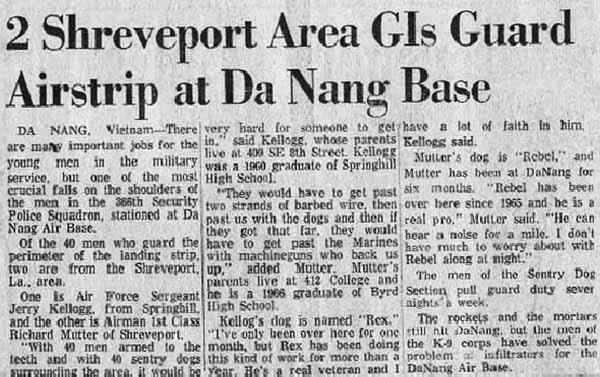 10. Da Nang AB: News Article. Shreveport Times. Photo by James W. Gifford Jr., 1968-1969.