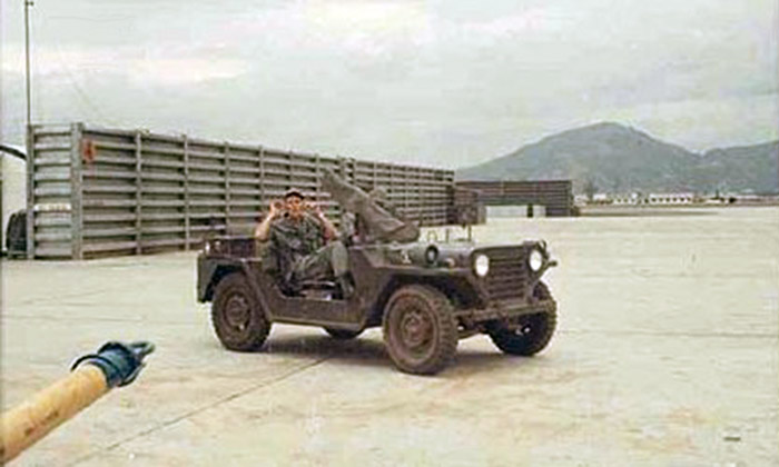 6. Da Nang AB: 366th SPS, QRT Jeep with canvas covered M-60. Photo by James W. Gifford Jr., 1968-1969.
