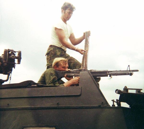 1. Da Nang AB, V100 M60. Glen Myers firing on the Range. 1971. Photo by: Glen H. Myers, NT, 6253 APS 14th SPS; PR 35th SPS; DN, 366th SPS. 1965-1966; 1971.