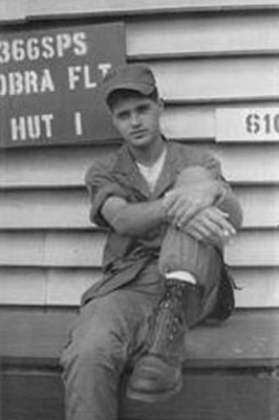 1. Da Nang AB, 366th SPS.Ralph Manganiello, infront of 366th SPS Cobra Flight Hut 1. Photo by: Ralph Manganiello Jr. 1966-1967.