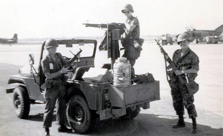 6. Da Nang AB, 366th SPS.flight line SP QRT Jeep, with M60. Photo by: Ralph Manganiello Jr. 1966-1967.