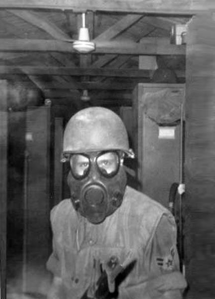 11. Da Nang AB, 366th SPS. WMD gas mask. Photo by: Ralph Manganiello Jr. 1966-1967.