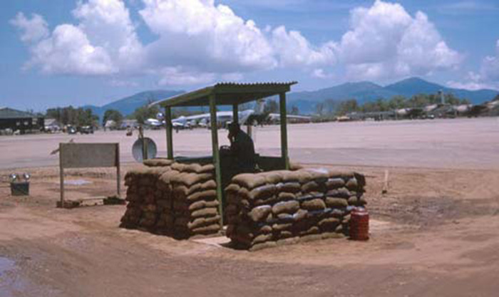 2. Da Nang AB, 366th SPS. flight line post. View N/E. Tower upper-right, and Monkey Mountain across the bay. Photo by: James Paul Mashburn 1966-1967.