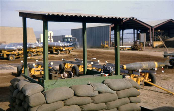 4. Da Nang AB, 366th SPS. Alpha Post, facing East. 750 LB bombs waiting for a ride. Photo by: James Paul Mashburn 1966-1967.