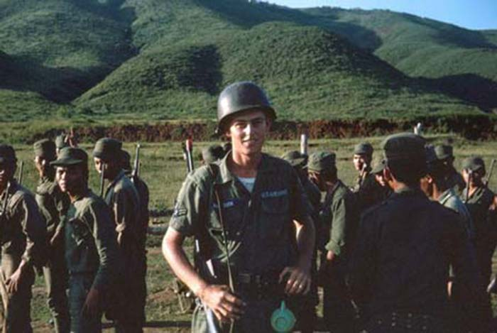 6. Da Nang AB, 366th SPS. Freedom Hill 327, and firing range at the base. ARVNs wondering what the big-guy is up to. Photo by: James Paul Mashburn 1966-1967.