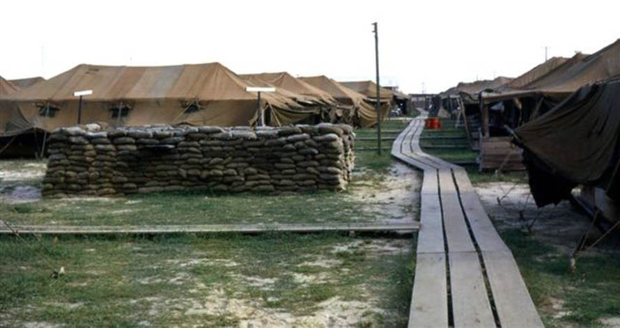10. Da Nang AB, 366th SPS. Original AP/SP Tent City, South. View is south from the showers. Photo by: James Paul Mashburn 1966-1967.