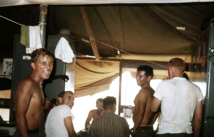 15. Da Nang AB, 366th SPS.Tent Card Game. Photo by: James Paul Mashburn 1966-1967.