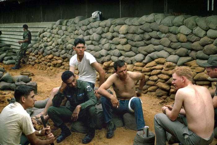 23. Da Nang AB, 366th SPS.Hooch sandbag detail. Photo by: James Paul Mashburn 1966-1967.