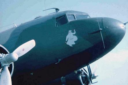 18. Da Nang AB,flight line. C-47 Spooky, starboard and cockpit nose-art.