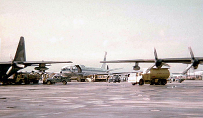 28. Da Nang AB. flight line Freedom Bird.