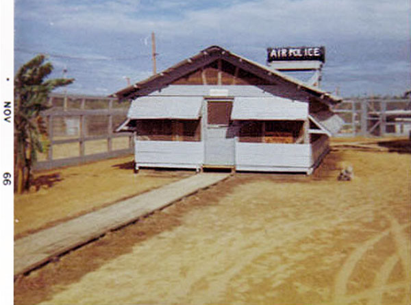 4. Da Nang AB, 366th SPS, K-9: Growl Pad office. Elevated Air Police water tank in the background.