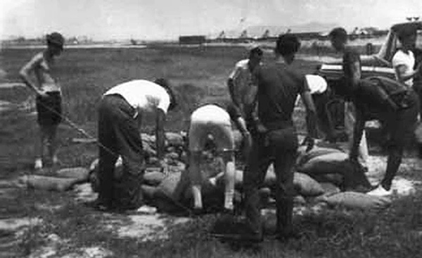 8. Da Nang AB, 366th SPS, K-9: K-9 handlers fortified the first K-9 Fighting Holes between the