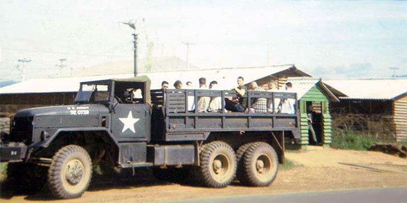 12. Da Nang AB, 366th SPS, K-9: K-9 handlers catch a ride to where-ever. Photo by: Lee Miller, 1965-1966.