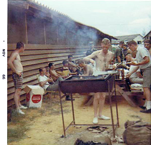 13. Da Nang AB, 366th SPS, K-9: K-9 handlers enjoy an off-duty BBQ and semblance of normalcy.