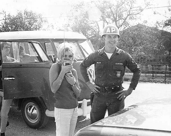 4. Da Nang AB: 366th SPS. Actress and singer Nancy Sinatra poses with A1C Mejer. Photo by Ronald A. Perez, 1967.