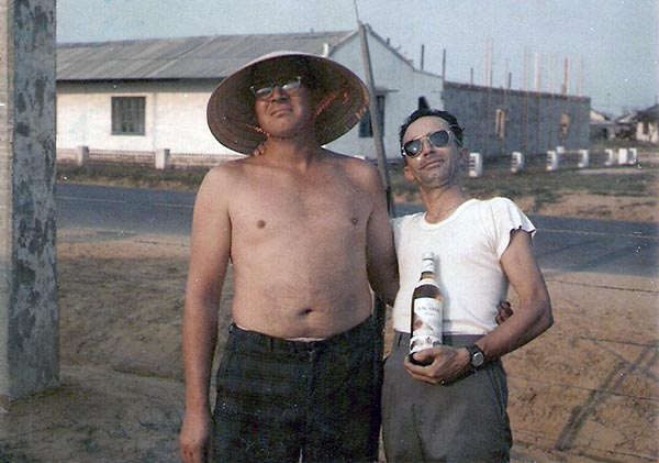 8. Da Nang AB: 366th SPS. Morning after and Davis and Ron Perez are still standing... mostly straight. Photo by Ronald A. Perez, 1967.