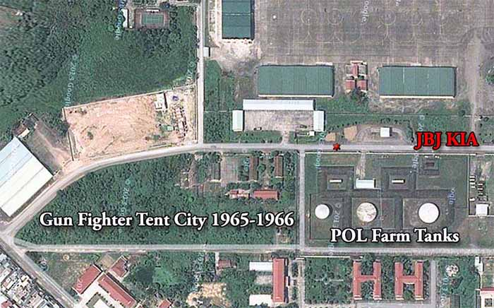 11. Da Nang AB, Tent City: Satellite view as of 2013. POL Farm Tanks are directly North of AP Tent City. Note the red astrisk denoting lockation of mortar crater strike. 1966.