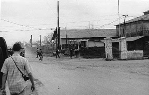 3. Da Nang AB: 366th SPS, Main Gate view toward BX. Photo by Ron Westering, 1966-1967.