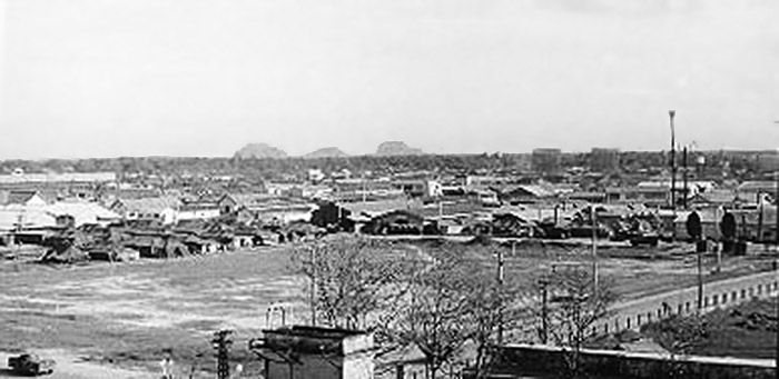 6. Da Nang AB: 366th SPS. View to east and Marble Mountain a few miles away with its active runway onto. Photo by Ron Westering, 1966-1967.