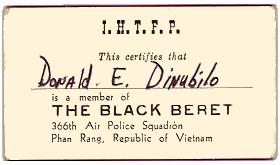 11) The Black Beret Card, 366th Air Police Squadron, PR, SVN.