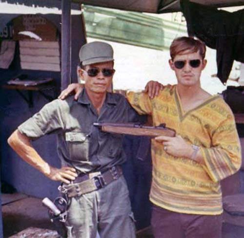 1. U.S. Embassy, Saigon, ARVN Guard (left) and SP (right). Photo by: unknown.